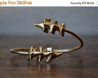 50% OFF TRIPLE CHOMP /// 24kt Gold or Silver Electroformed Shark Teeth Cuff Bracelet /// Lux Divine Jewelry