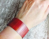 Wide Textured Copper Cuff Bracelet with Red Heat Patina