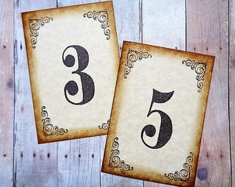 Rustic Vintage Style Wedding Table Number Cards Party Table Decor
