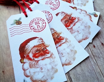 Christmas Tags Santa Claus North Pole Postmark December 25 Vintage Santa Holiday Tag