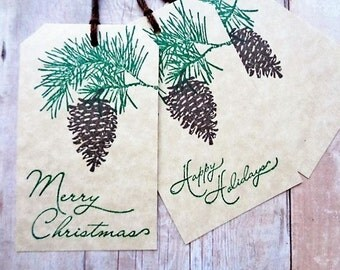 Christmas Pine Cone Tags Rustic Woodland Pine Branch Happy Holidays Hang Tag