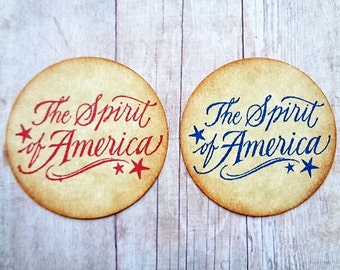 Americana Stickers 1776 Primitive Fourth of July Envelope Seals The Spirit of America