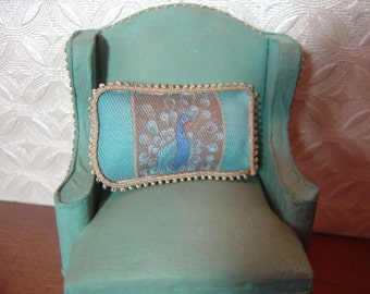 "Dollhouse Miniature Throw Pillow Peacock Teal Lumbar eyelash trim 1""x2""  1:12 Scale"