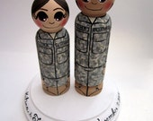 Wedding Cake Topper / Custom Painted Wood Peg Dolls with Plaque / Tall Groom / Military
