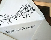"See you on the slopes! set of 10 lined envelopes with return address printing; mountain wedding/event; A7 envelopes, fits 5x7"" card"