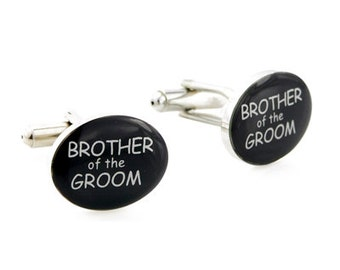 Brother of The Groom Silver and Black Wedding Cufflinks 1200230