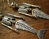 Skeleton Mermaid Earrings Pendant Dangle Drops Valentines Gift for her under 20 Day of the Dead Steampunk Goth Punk bestie Sister Daughter l