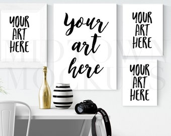 Fresh and clean photographer Frame Mock Up for Bloggers, Wall Art Display Template Styled Desk Photography