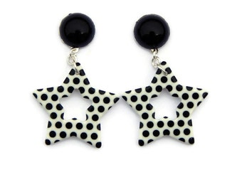 Retro White and Black Polka Dot Star Earrings - 50s Style - Nickel Free - Handmade in USA - Women's, Rockabilly, Pinup Jewelry