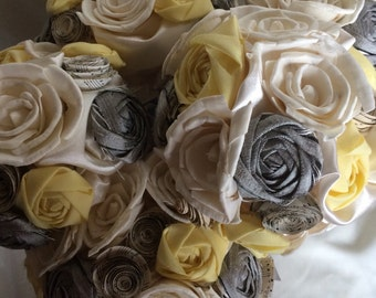 Vintage Sheet Music, sola flower bouquet, Wedding Bouquet, Wedding Flowers, Yellow and Gray, Paper Flower