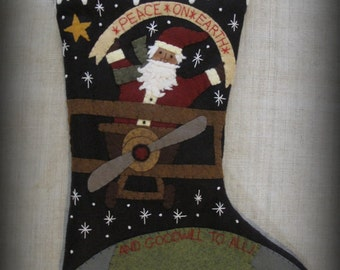 Peace on Earth Stocking PRINTED PATTERN by cheswickcompany