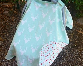 Baby Car Seat Canopy - Baby Car Seat Cover - Baby Girl Car Seat Canopy - Deer Car Canopy - Baby Shower Gift - Mint Car Seat Canopy