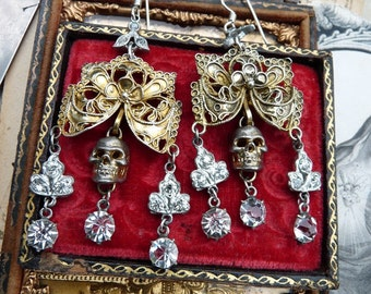 Antique Vintage Skull Chandelier Earrings, Our Lady of Grace, by RusticGypsyCreations