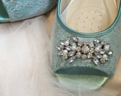 Lace Wedding Flats - Wedding Shoe - Lace Flats - Lace Wedding Shoe Flats - Peep Toe Flat Wedding Shoe - Bridal Flats - Blue Lace Flat Shoe