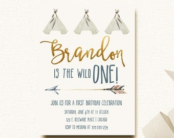 Wild One Birthday Boy | Invitations | 1st First | Invites for Boy | Tribal | Arrow | Teepee Invitation Template | Party
