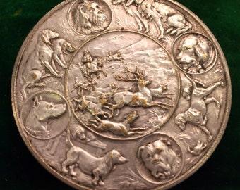 Huge Silver Plate Vintage French Canine Dog Ornate Bretonne Medal Coin