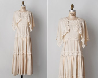 vintage 1970s dress / 70s crochet dress / natural cotton dress / Amaranth dress