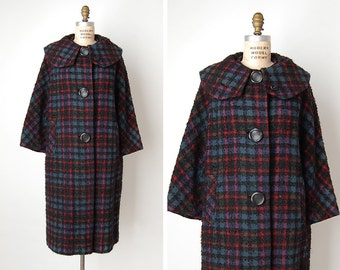 vintage 1960s coat / 1960s plaid coat / wool plaid coat / Lassie Plaid coat