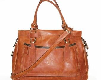 Rina Oversized. Leather handbag tote handbag cross-body bag in vintage orange fits a 17 inches laptop
