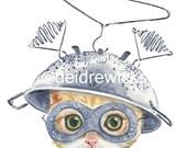 Cat Watercolor PRINT - 8x10 Cat Illustration, Nursery Art, Orange Tabby, Funny Cat Painting, Tin Foil Hat