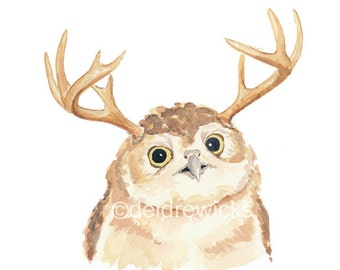 Owl Watercolor PRINT - Owl with Antlers, Nursery Art, Owl Illustration, Open Edition, 8x10 Art Print