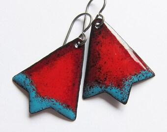 Red and blue geometric earrings Autumn enamel niobium dangles Cowgirl southwest jewelry Boho triangle earrings