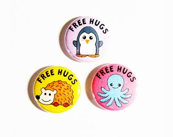 Free Hugs Buttons Cute Animals Small Geeky Accessories