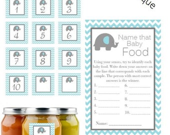 Elephant Baby Shower ~ Instant Download Name that baby food Game Cards Guess the Baby Food Baby Blue Elephant Taste the baby food Game BS527