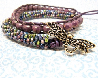 Purple Dragonfly Leather Wrap Bracelet, Green, Blue, Pink, Purple, and Violet Beaded Kumihimo Rope Bracelet, Antique Gold Dragonfly Bracelet