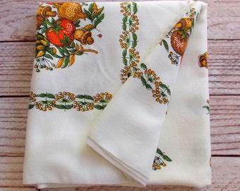 Vintage Penney's Tablecloth /  Fall Harvest Mushroom / Vintage Linens