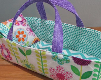 Doll Carrier, Fits up to 14 Inch Doll, Flowers, Lavendar Lining