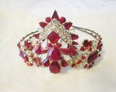 Tiara Crown Ruby Crystal Glass Antique Gold Plated Upcycled Statement Jewelry Fantasy Renaissance Reign LARP Elven Wedding Bridal