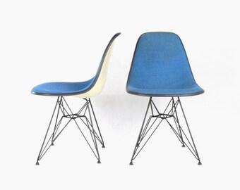Eames for Herman Miller Eiffel Base Side Chair w/ Alexander Girard Hopsack Upholstery-DSR (Set of 2)