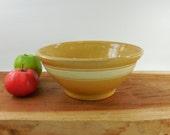 "Antique Yellow Ware Yelloware 10"" Bowl - 3 White Bands Stripes - Kitchen Mixing Fruit"