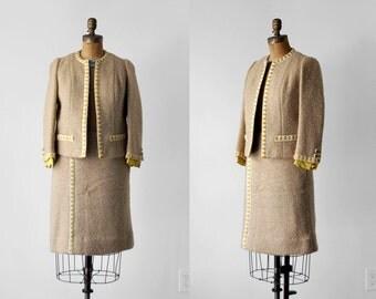 60's tweed suit. tan. 1960's yellow suit. jacket & skirt set. wool. pencil. cream. 1960 small.