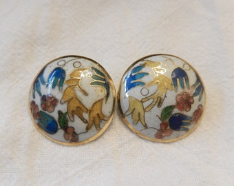 Button cloisonne clip on earrings