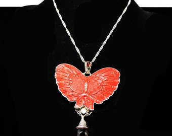 Sterling Cinnabar Butterfly Pendant Necklace - Sterling Silver Chain - Vintage Modern Insect - Dangling Garnet Red Crystal Glass Rhinestone