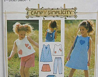 Girls, Children's Dress, Top, Capri Pants, Shorts, Bag, Backpack, Summer Separates Simplicity 5617 Sewing Pattern UNCUT Sizes 2, 3, 4