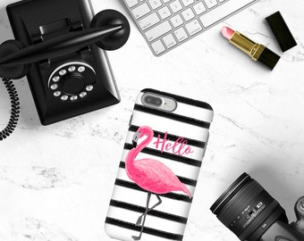 Personalized Phone Case Pink Flamingo Stripes, Custom Monogrammed Phone Case, iPhone Case, iPhone 7 Case Samsung Phone Case Folio Phone Case