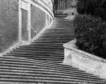 "Fine Art Black & White Travel Photography of the Spanish Steps ini Rome Italy - ""The Spanish Steps 1"""