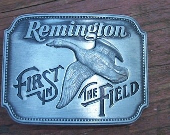 Vintage Remington Goose Belt Buckle First in the Field 1980