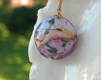 Pink Murano Glass Fiorato Necklace