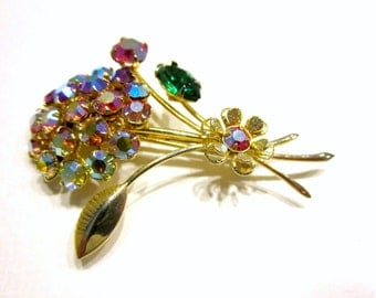 Vintage Rhinestone Brooch Aurora Borealis Ombre Flower Pin Gift for Mom Gift for Her Gold Rhinestone Brooch