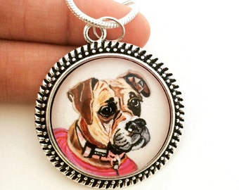 Custom Pet Portrait Necklace- Custom Pet Portrait- Boxer Dog Art- Custom Dog Necklace- Dog Memorial Gift- Pet Loss Gifts- Custom Pet Jewelry