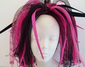 Cyberlox Hot Pink and Black Medium length Pigtail Falls Cybergoth Cyberpunk Neon Cyber Goth Punk Dreads Synth Wig Tie In Cyberpop