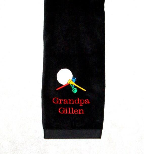 Golf Towel, Name & Tees, Custom Personalize Grandpa, Boss, Husband, Girlfriend, Mimi, Papaw, No Shipping Fee, Ready To Ship TODAY, AGFT 090