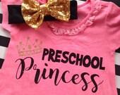 Preschool Princess Dress Glitter Princess Dress Preschool Outfit my first day of school shirt Preschool shirt Preschool Princess Dress