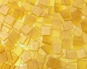 """100 1/2"""" Tumbled Yellow Stained Glass Mosaic Tiles"""