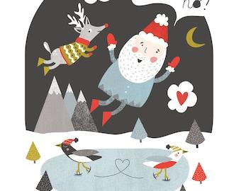 Whimsical Christmas Card Holiday Card Set 10 Christmas cards illustration Santa Rudolph Santa Rudolph Cartes de noël Peace Love Rudolph