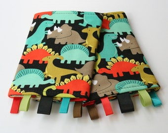Reversible Baby Carrier Suck/Drool Pads - Dino-Mite/Chevron Retro (Fits Kinderpack, Ergo, Beco, Mei Tai, Tula, and other SSCs)